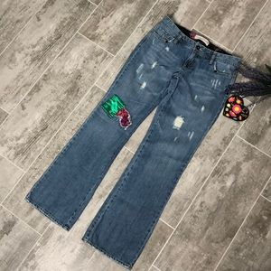 OLD NAVY Distressed Ultra Low Waist Boot Cut Jeans